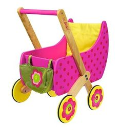 Καροτσάκι για κούκλες ροζ με βούλες, Dushi,Dushi is introducing a wooden pram for little mummies. The mini-mummy items can be carried in the small, matching fabric bag decorated with felt flowers and naturally a blanket is included for covering the doll o Doll Toys, Baby Dolls, Doll Carrier, Baby Doll Accessories, Dolls Prams, Pink Doll, Best Kids Toys, Santas Workshop, Child Love