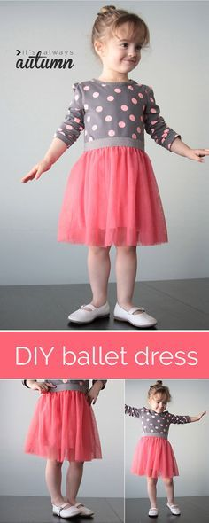 add a tulle skirt to a store bought tee for an adorable ballet dress - I want to make this! it looks easy.