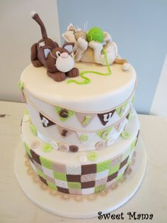 Patchwork Christening cake by Sweet Mama Pretty Cakes, Cute Cakes, Beautiful Cakes, Amazing Cakes, Patchwork Cake, Quilted Cake, Crochet Cake, Cupcake Cakes, Kid Cakes