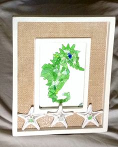 Seaglass Seahorse. Made for a baby shower.