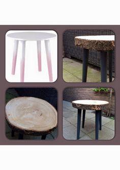 Stijlvolle kruk door een Action tafeltje te combineren met een houten boomschijf by Marlot de Wilde - Bespaarmama