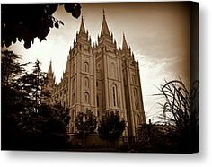 Salt Lake City LDS Temple Sepia Photograph by Nathan Abbott - Salt Lake City LDS Temple Sepia Fine Art Prints and Posters for Sale
