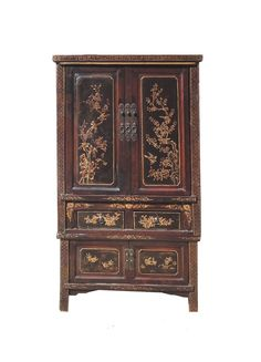 Chinese Antique Gold Stack Armoire Storage Cabinet