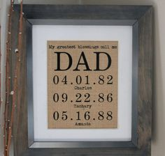 Personalized Gift for DAD or MOM | Fathers Day from Kids | Father's Day Gift Idea | My Greatest Blessings Call Me Dad | Family Date Sign
