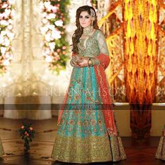 #RabiaWaheed wears #NomiAnsari at a recent family #wedding in #lahore. The #iceblue #peplum and an embroidered lehenga with #applegreen thick #zardozi border is an absolute fun combo for the shaadi season this year. Log on to www.nomiansari.com.pk for any further query. @rabiawaheed12 @irfanahson #clientdiaries #weddingseason #lahore