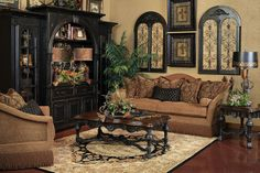 Tuscan design – Mediterranean Home Decor Tuscan Living Rooms, My Living Room, Living Room Furniture, Living Room Decor, Tuscan Bedroom, Style Toscan, Family Room Colors, Bedroom Colors, Tuscan Furniture