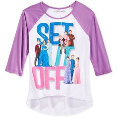 Disney Girls' Descendants Set It Off Raglan Tee (1,580 PHP) ❤ liked on Polyvore featuring tops