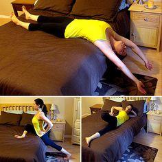 Original comment:Stretches to Do in Bed- may be good to help u sleep! Real outcome: one more reason for my husband to sleep on the sofa.