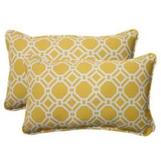 """Set of 2 Sunny Yellow and White Geometric Outdoor Patio Throw Pillows 18.5"""""""