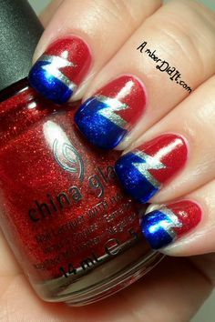 Double lightning bolt tape mani using @China Glaze Ruby Pumps and Blue Years Eve.