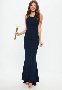 ef5d248f Other View Navy Bridesmaids, Bridesmaid Dresses, Fishtail Maxi Dress, Bleu  Marine, Missguided