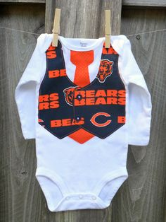 NFL/College Football Team Vest & Tie Baby Onesie or Toddler Shirt with Chicago Bears...or CHOOSE your TEAM. $24.00, via Etsy.