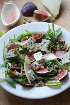 salatka-rucola-gruszka-orzechy-ser-lazur-przepis Fruit Recipes, Salad Recipes, Diet Recipes, Healthy Recipes, Ensalada Thai, Greens Recipe, Food Inspiration, Good Food, Food Porn