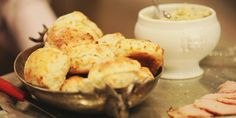 Easy, cheesy holiday biscuits warm from the oven and perfect as an appetizer or side. Cheese Biscuits, Cheddar Cheese, Mustard Butter Recipe, Food Network Canada, Dinner Rolls, Food Network Recipes, Brunch, Food And Drink, Yummy Food
