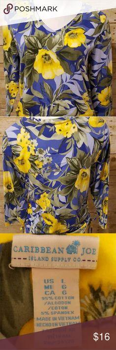 Caribbean Joe Floral Shirt Caribbean Joe Blue And Yellow Floral Shirt Size L Caribbean Joe Tops