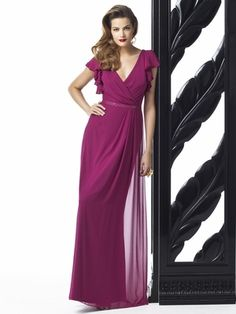Dessy Collection Style 2874 - full length lux chiffon dress w/ flutter sleeves and draped wrap v-neckline. Pleated detail at skirt front. Lux chiffon covered silver sequin belt always matches dress Dessy Bridesmaid Dresses, Prom Dresses, Formal Dresses, Bridesmaid Ideas, Wedding Bridesmaids, Formal Wear, Wedding Dresses, Plum Bridesmaid, Loose Dresses