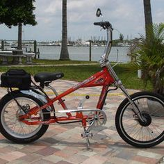 Photos of custom motorized bicycles.See OCC Schwinn Stingray choppers we've motorized.Also rat rods & cruisers, e-bikes or ones with gas and electric motors. Gas And Electric, Electric Scooter, Electric Bikes For Sale, Bike Chopper, Gas Powered Bicycle, Banana Seat Bike, Tricycle Bike, Bicycles For Sale, Motorised Bike