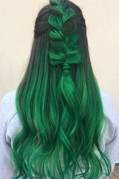 Trendy Hair Color : Green hair is ultra-trendy right now. And hair dyed in green is no exception. O