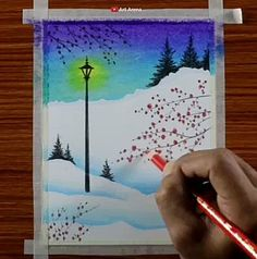 Discover recipes, home ideas, style inspiration and other ideas to try. Crayon Painting, Canvas Painting Tutorials, Diy Canvas Art, Wax Crayon Art, Painting Canvas, Art Drawings Beautiful, Art Drawings For Kids, Art Drawings Sketches Simple, Beautiful Scenery Drawing