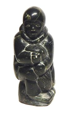 Inuit Eskimo Art carving serpentine: INUK J Alasuaka, used to have sticker, 5x2x2
