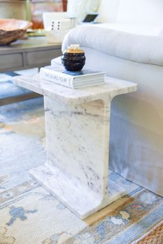marble side table with matchstick holder | blue print | blueprintstore.com