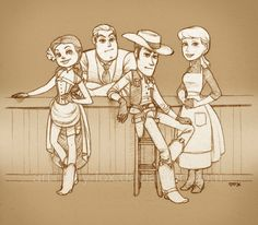 """""""Down at the Western Gateway"""" by *lily-fox on deviantART. Toy Story western AU. #fanart #toy_story"""