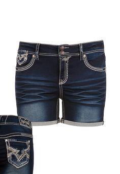Hydraulic ® Dark Wash Embellished rolled plus size short