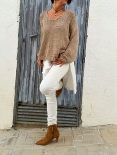 Neutral winter outfit with chunky knit sweater