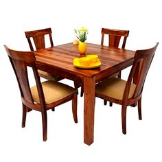Buy Jason 4 Seater Dining Set (Teak Finish) Online in India - Wooden Street Dining Table Set Designs, Dining Set, 4 Seater Dining Table, Dining Table Online, Wooden Street, Rectangle Table, Solid Wood Table, Table Dimensions, Outdoor Furniture Sets