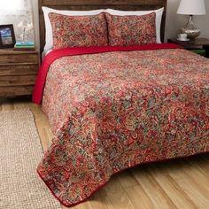 Greenland Home Fashions Persian 3 Piece Quilt Set Striking Red Orange Black New #GreenlandHome #VintageRetro