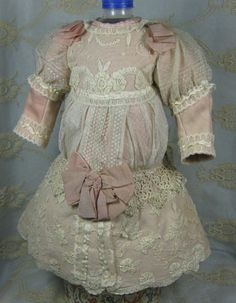 LOVELY ANTIQUE DRESS FOR A BISQUE FRENCH or GERMAN DOLL FOR A DOLL ABOUT 24""