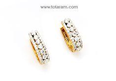 18K Gold Diamond Hoops