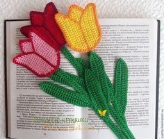 """Закладки для книг ручной работы. Ярмарка Мастеров - ручная работа. Купить """"Тюльпаны"""" вязаные закладки. Handmade. Закладка, цветочек, букет"""