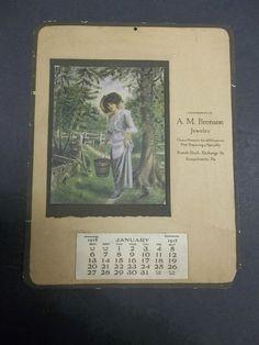 vintage 1918 A.M. BRONSON JEWELER ADVERTISING CALENDAR Susquehanna, PA Victorian