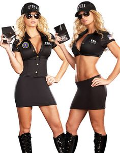 Womens Sexy Police Officer Fbi Agent Cop Convertible Halloween Costume
