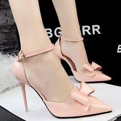{D & H} Califique A Las Mujeres Zapatos de Tacón Alto Zapato con Cierre de Tacón Fino Bombas de Las Mujeres Atractivas Vestidos Zapatos dulce de Color Rosa Arco Zapatos de San Valentín