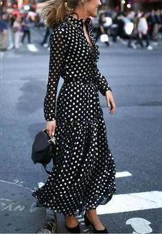 Polka Dot Long Sleeve Dress. Long Skirt FashionWomen s Fashion  DressesFashion 2018Dress ... 97afecbf11b7