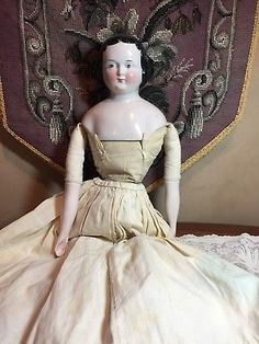 "25"" Tall Antique China Head Doll- Fabulous Leather Boots!"