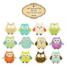 Designer Owl Clip Art - commercial/personal