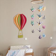 Hot air balloon, origami crane, baby mobile, paper crane, dyi
