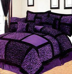 7 Pcs Micro Fur Zebra/Giraffe Patchwork Bed Comforter Set Queen Black/Purple