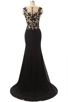 Modern Scoop Mermaid Floor Length Chiffon Lace Black Prom Dress With Split