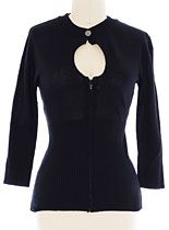 Black Keyhole Cardigan Sweater