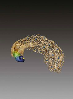 Mellerio dits Meller Peacock brooch daring from 1905 featuring diamonds and enamelling. Private collection