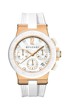 Bulgari Diagono 18Kt Pink Gold 37mm Watch with White Ceramic Bezel 101994 Bvlgari  Diagono, Creme 393e1efd8fb