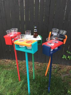 Never spill your drink when playing yard games again! This drink holder holds your drink at arm level while you play your favorite outdoor game. ------------------------------------------------------- -This listing is for One (1) drink holder (holds two drinks) & One (1) removable