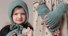 Bonnet douillet pour fillette coquette. Ce modèle tricoté au point de blé est fermé par un lien noué sous le menton. A porter en duo avec les mitaines assorties (explications de 2 à 8 ans).  ...