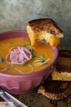 Sweet Potato, Carrot and Cheddar Soup by @Heather Christo