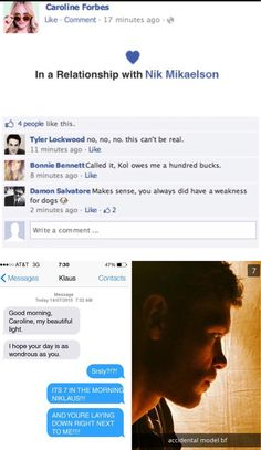 Caroline Forbes Facebook status and texts
