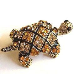 Gold Crystal Sea Turtle Pin Brooch Plated Pendant Sea Life Nautical Island Beach #Unbranded